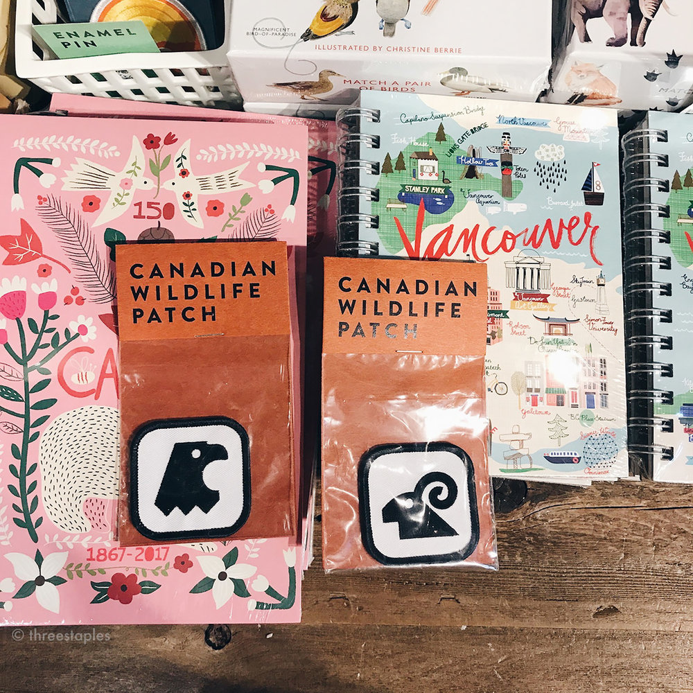 Lots of gift items, like these Canada-themed notebooks and patches.