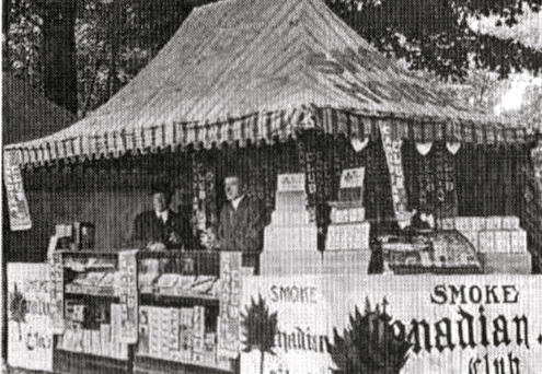 "Cigar and ""smokes"" vendors once had significant displays at the Fair"
