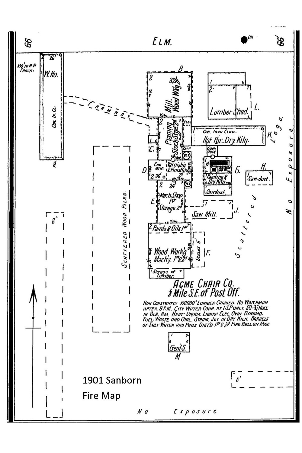 The layout of the Acme Chair Company as shown in the Sanborn fire map
