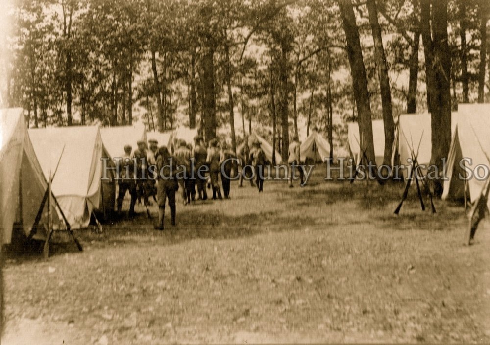 Michigan SKirmishers in camp at Baw beese lake - 1904