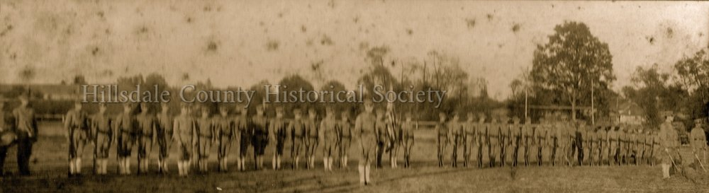 1st Battalion michigan skirmishers, company a-hillsdale, company b-reading. exhibition drill at the hillsdale county fair - 1906