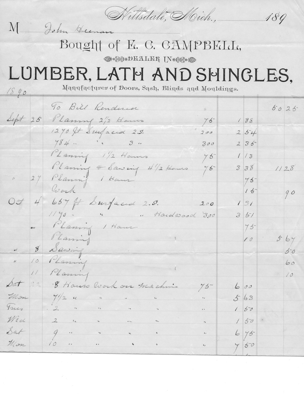 A receipt for materials 1890