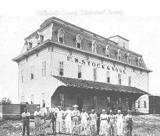 AUGUST STOCK WAS OVERSEER OF THE BUILDING OF STOCK'S MILL IN LITCHFIELD, BEGUN IN 1881. AUGUST DIED FOLLOWING A HORRIFIC ACCIDENT AT THE MILL IN HILLSDALE IN 1884.