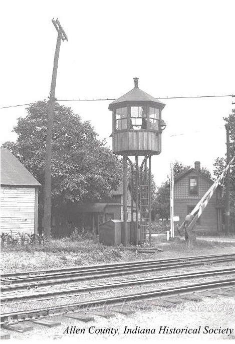 the watchman's tower at the intersection of spring and north west streets, c. 1918