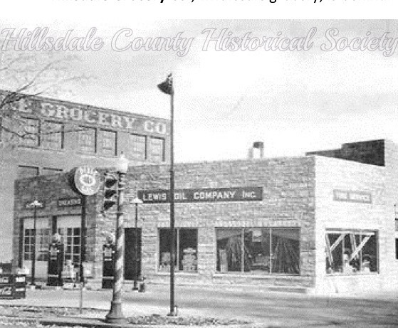 Lewis Oil Company, on the corner of Hillsdale street and carleton road in 1938, selling dixie oils and gasoline