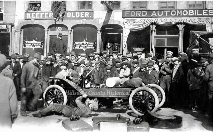 Racing to get that Ford Assembled at Pinkham & Wright on Broad Street in Hillsdale