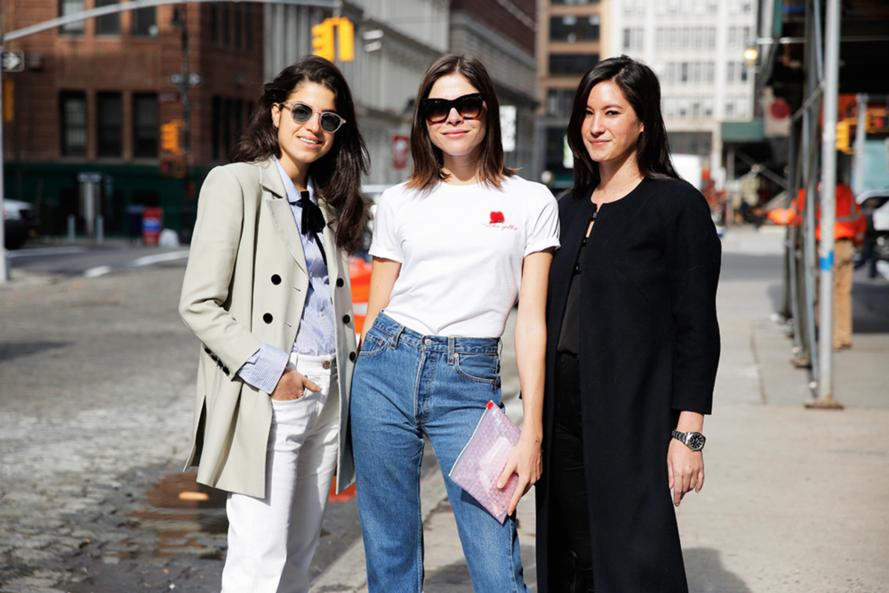 Leandra Medine (Founder of Man Repeller).Emily Weiss (Founder and CEO of Into the Gloss & Glossier),Maggie Winter (CEO of AYR)Photographed by Krista Anna Lewis