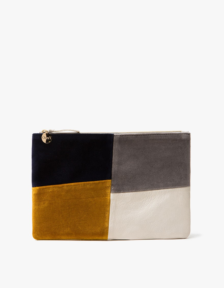 Patchwork Grid Flat Clutch by Clare V. - $235