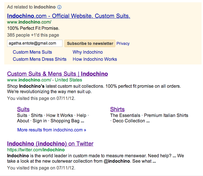 Indochino Google Screenshot