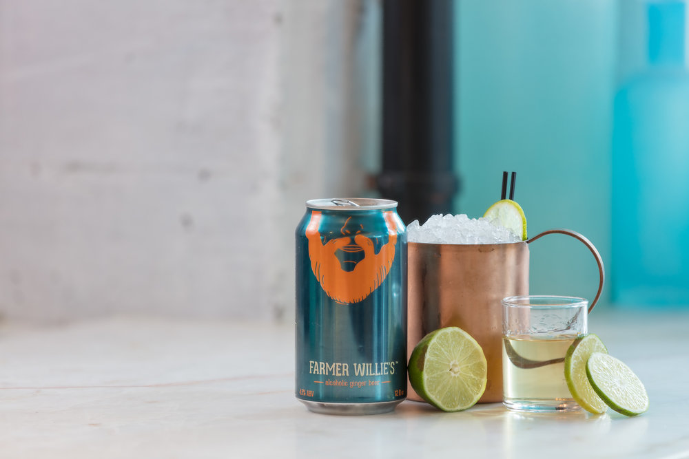 GOAT MULE 2 oz reposado tequila (recommend Fortaleza) .5 oz fresh squeezed lime juice .5 oz simple syrup Shake up all ingredients briefly, and strain into a Moscow mule mug full of crushed ice. Top with Farmer Willie's, garnish with a lime wheel.