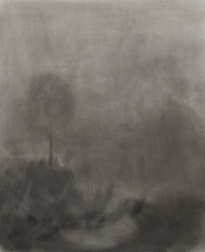 Merri Creek, 2011. Charcoal on paper, framed.