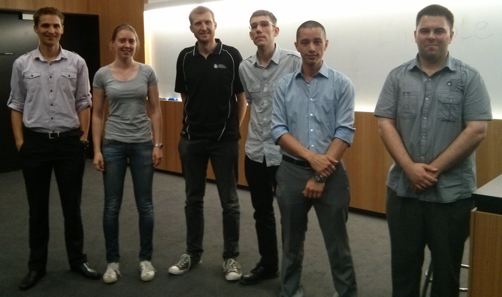 The speakers at the 2014 School of Chemistry & Physics Postgraduate Research Symposium (Jesse - second from right).