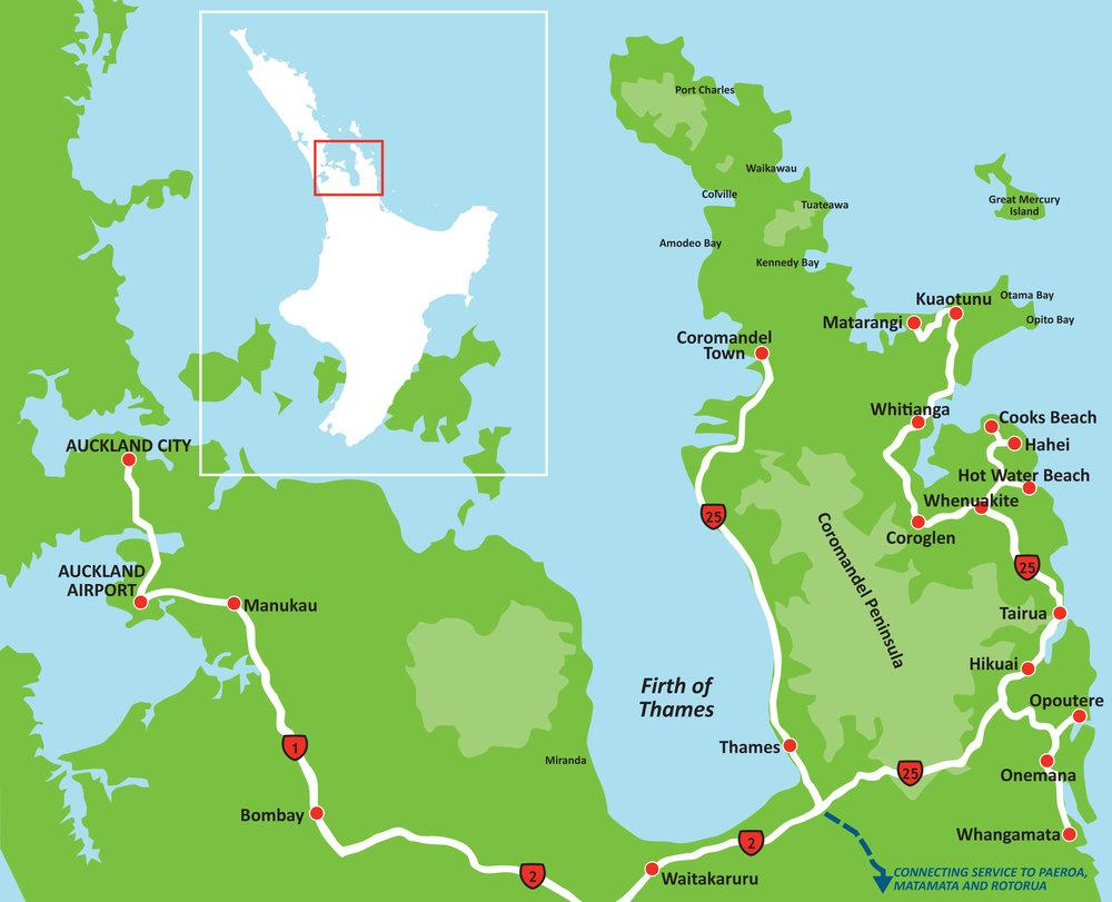 Auckland to Coromandel route
