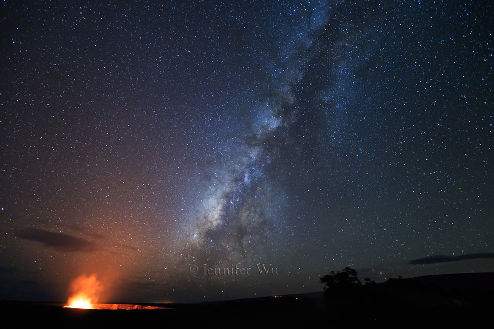 Volcano and Milky Way: Photographed at f/2.8, 25 seconds, 16-35mm lens at 16mm, ISO 3200, Canon EOS-1D X