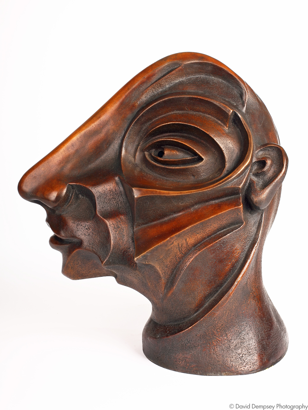 Bronze head by Eleanor Swan