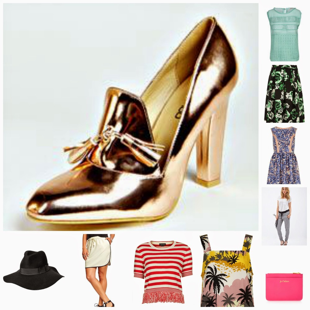 one:   boohoo Metallic Heeled Loafer     | two:   boohoo Crochet Top     | three:   Dorothy Perkins Floral Scuba Skirt     | four:   Dorothy Perkins Blue Chiffon Dress     | five:   F21 Knit Jogger     | six:   Je T'aime Zippered Pouch   | seven:   TOPSHOP Acapulco Tank     | eight:   TOPSHOP Striped Tassel Top     | nine:   Old Navy Dolphin Hem Skirt     | ten:   Old Navy Fedora Hat