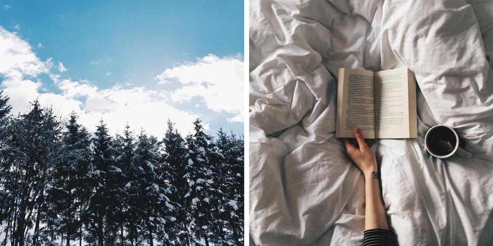 <3                                                                       Nach 6 Stunden auf der Piste, ins Bett fallen und lesen.