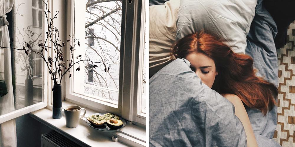 Frühstück am Fenster.                                                      Sleeping sickness.