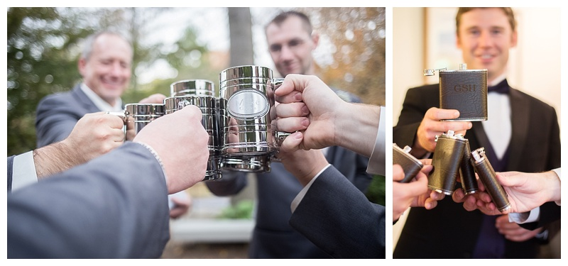 Groomsmen love their monogrammed drinking products. From mugs, flasks, and coozies, these always seem to be a photograph moment favorite of theirs.