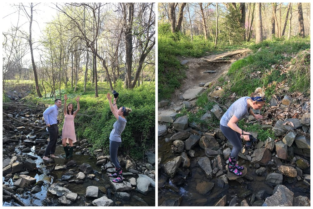 We were trying to show Chris the dirt dancing lift hoping he would be up for the challenge ;) I also decided I needed to be down stream to get the angle I wanted, which involved climbing over rocks in the stream!