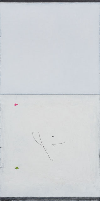 dog rose skyline. oil & graphite on canvas  62 x 122 cm