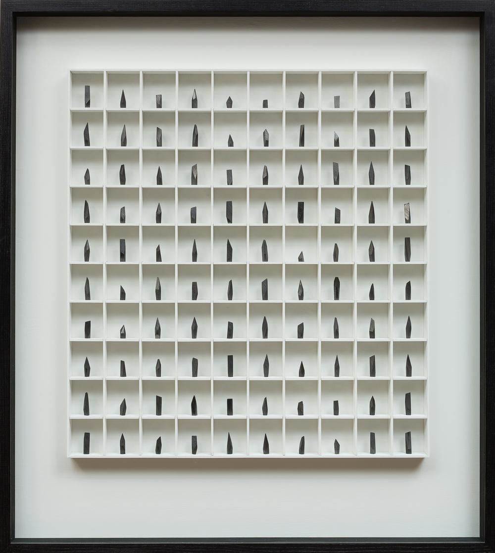 A Poem, A love Letter & A Prayer - 100 pieces graphite & wood construction  100 x 8 x 120 cm