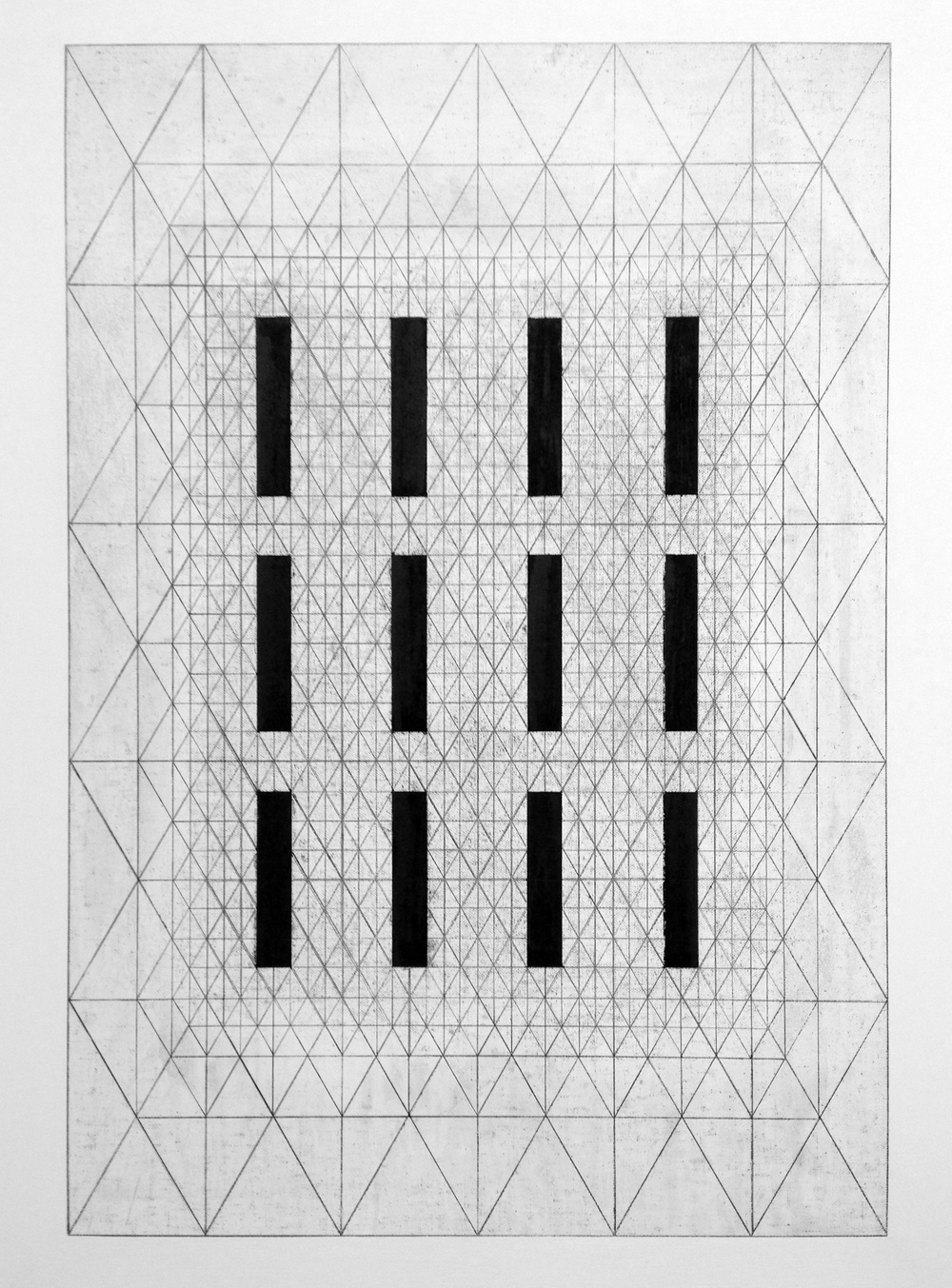 12 lines - graphite drawing graphite & graphite dust
