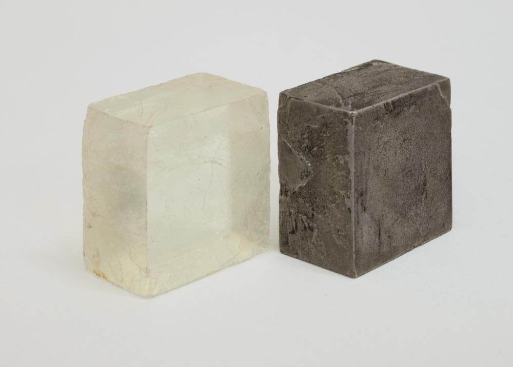 Replica  cast found object - Calcite crystal crystal & aluminium 10 x 9 cm