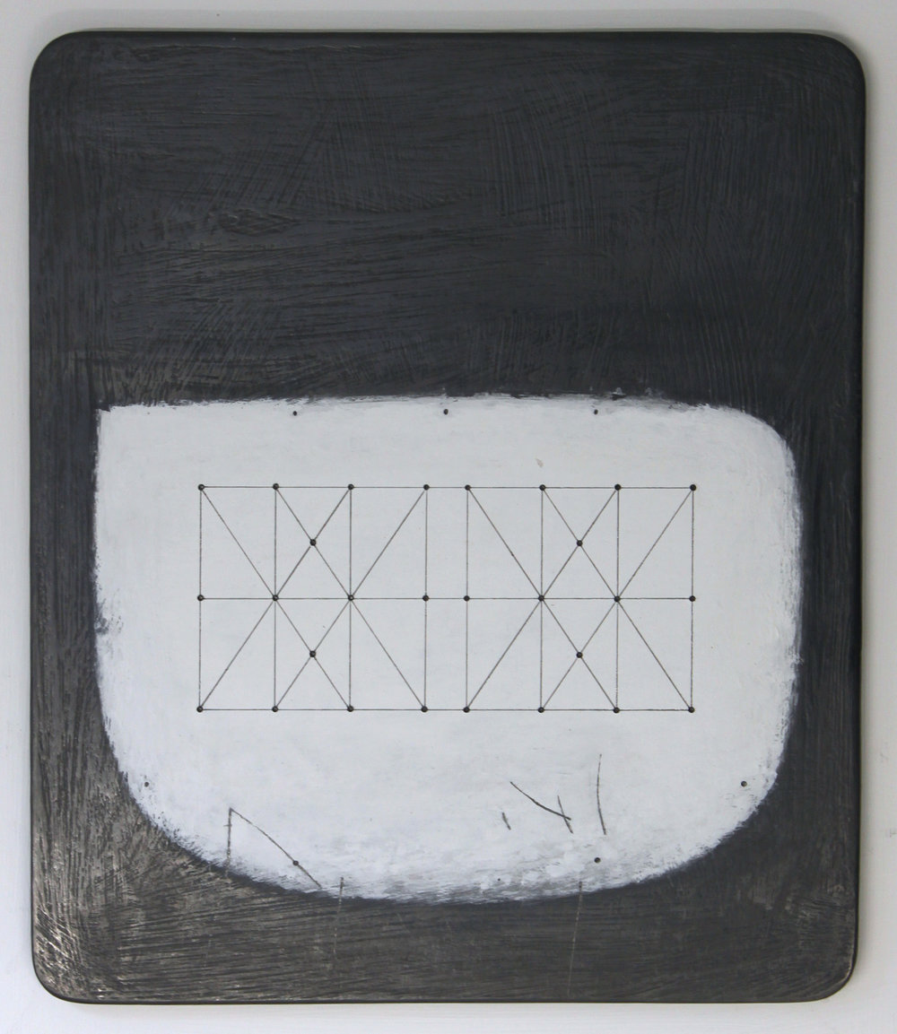 Untitled Space - Box Kite - 28.1 26x21cm graphite & gouache on wood 40x35cm framed