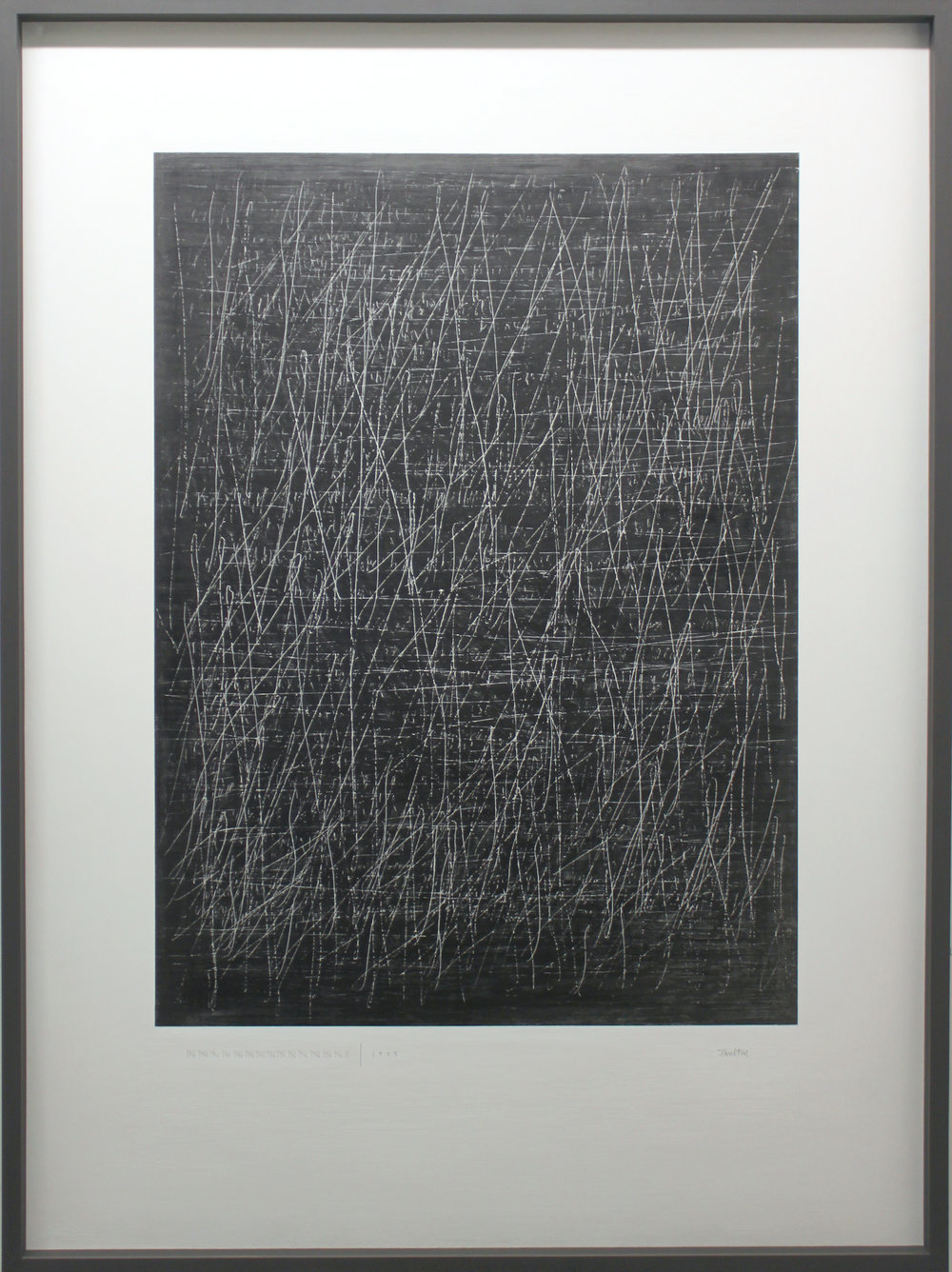 The Edge of Silence - Drawing 116x7x143cm graphite text, graphite dust and gouache on canvas framed dark grey wood with non reflective museum glass