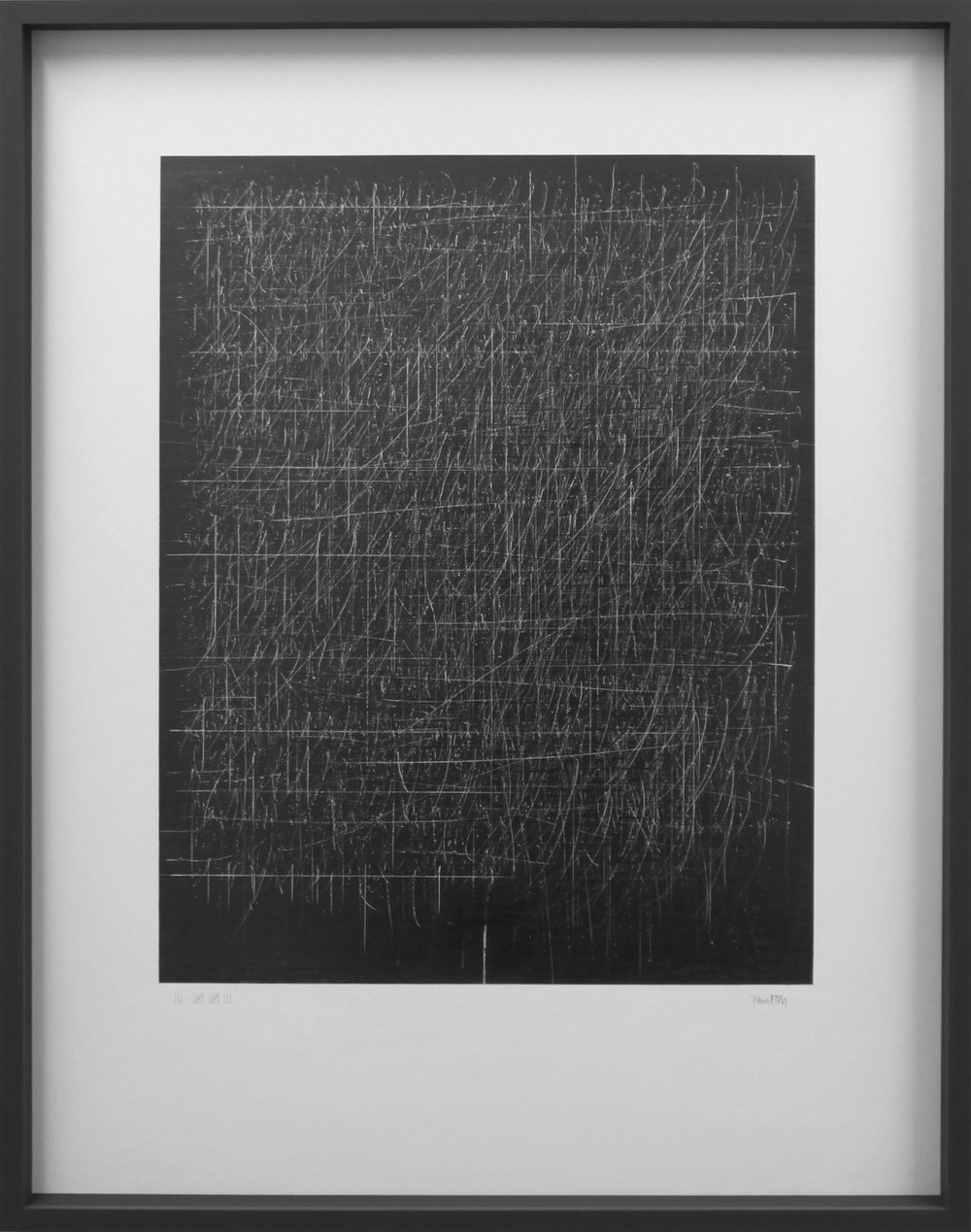 Keep the faith - the edge of silence 85.5 x 7 x 111 cm graphite on canvas-wood