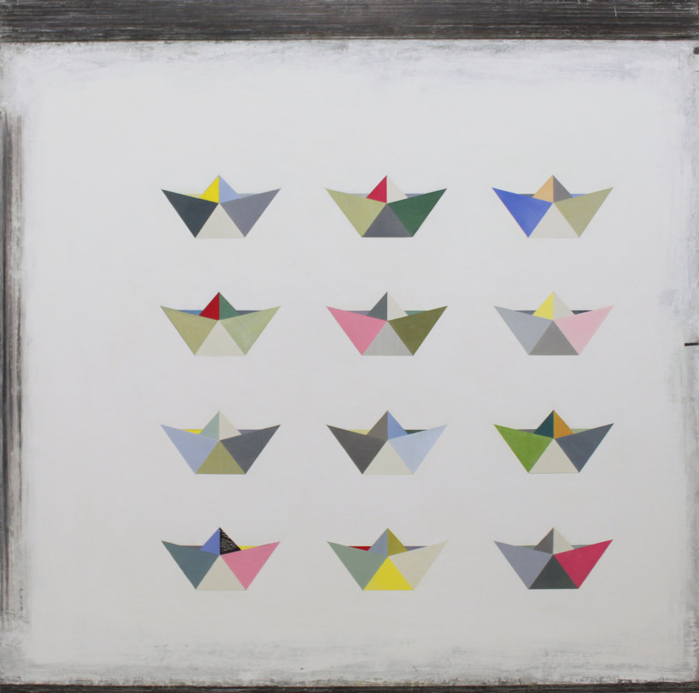 12 Origami boats 100x100cm oil gouache & graphite on canvas