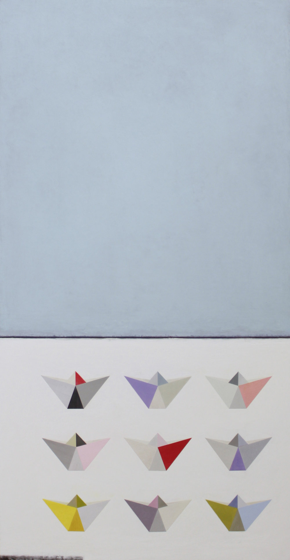 9 Origami boats 62x122cm oil gouache & graphite on canvas