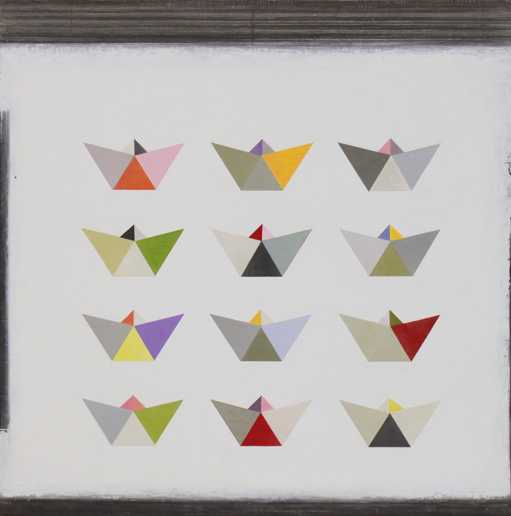 12 origami boats 60x60cm oil gouache & graphite on canvas
