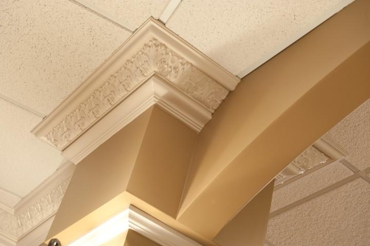 Ceiling molding near archway