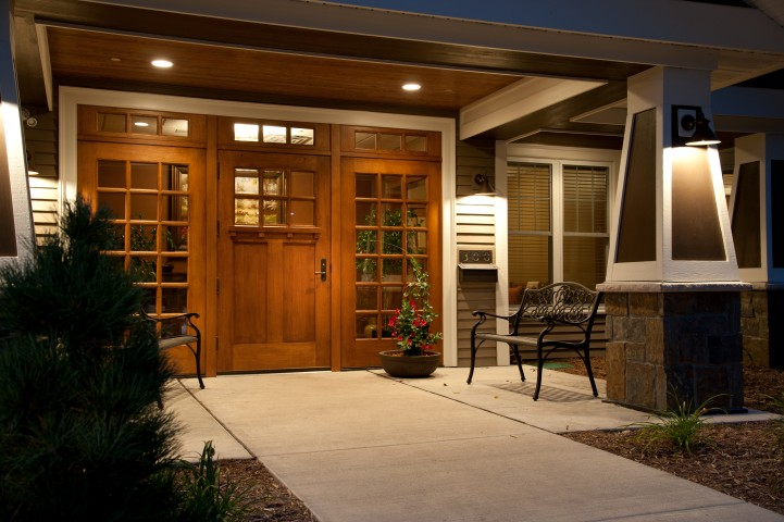 Wooden door entrance to Garden House