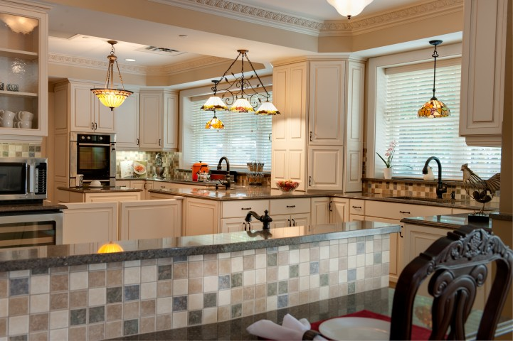 White kitchen with amenities for senior care