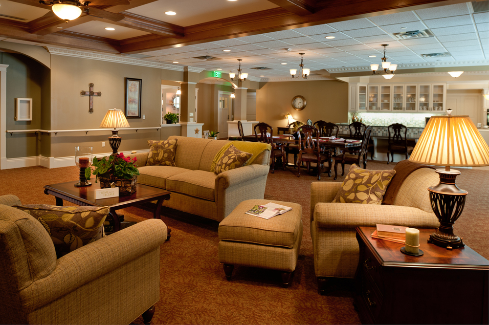 Senior living facility interior with couches