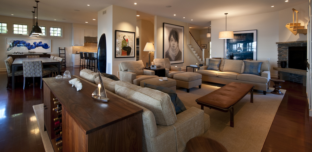 Modern luxury home living room with paintings