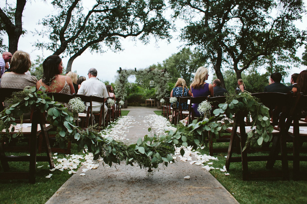 Wedding Aisle with Floral Leaves and Petals | Lisa Woods Photography