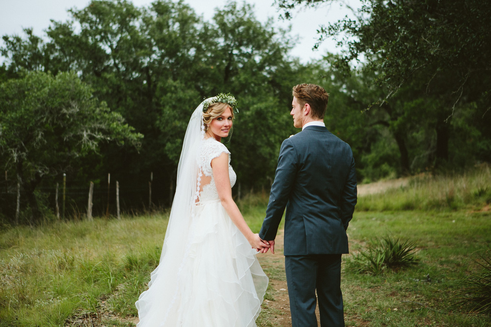 Bride with Flower Wreath with Stylish Groom | Lisa Woods Photography