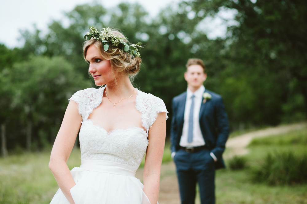 Bride with Flower Crown and Cap Sleeves | Lisa Woods Photography