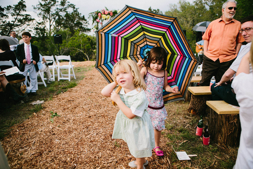 Little Girls & Umbrella | Home Ranch Wedding | Lisa Woods Photography