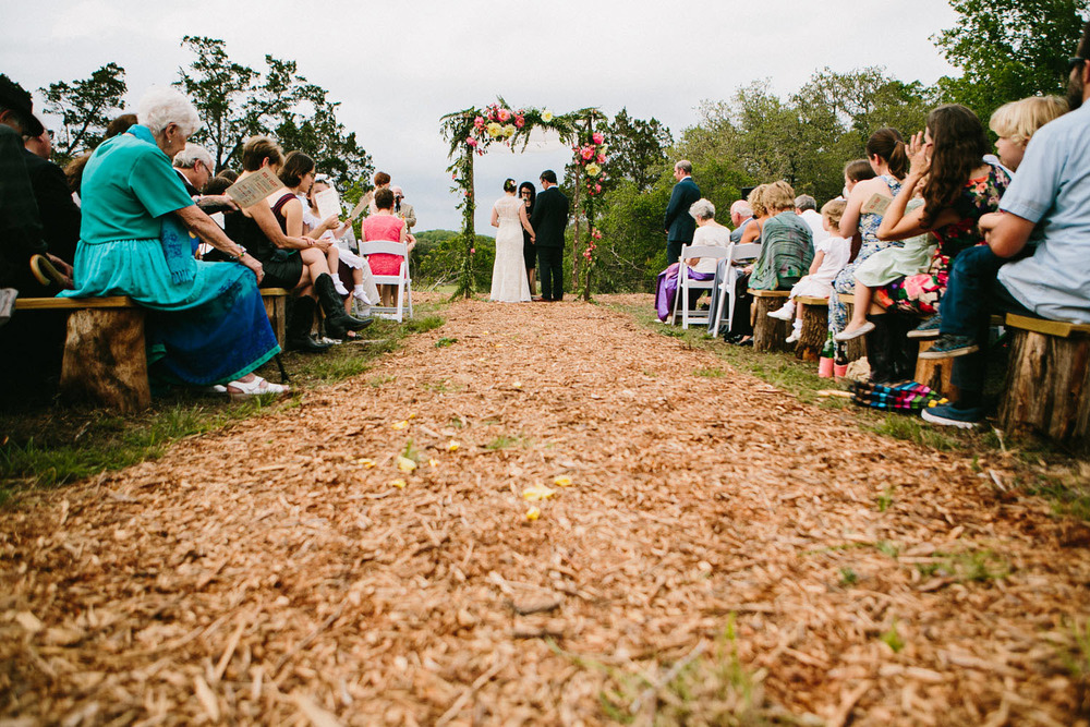 Wood Chip Aisle | Home Ranch Wedding | Lisa Woods Photography