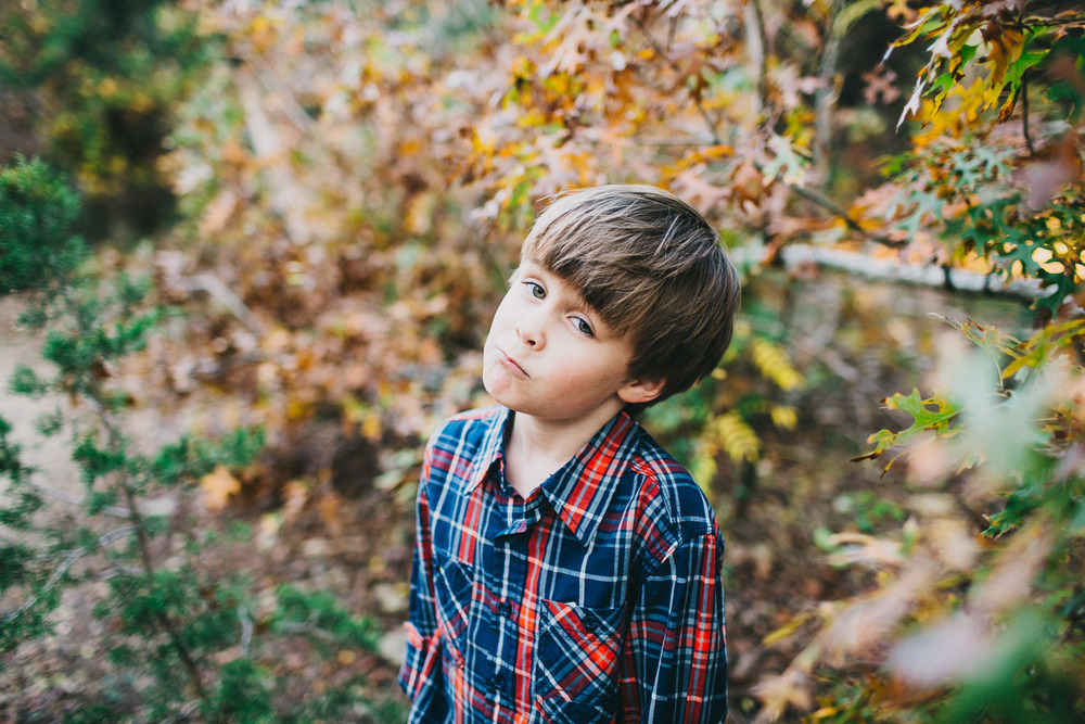 Boy in Plaid Shirt | Austin Fall Family Portraits | Lisa Woods Photography