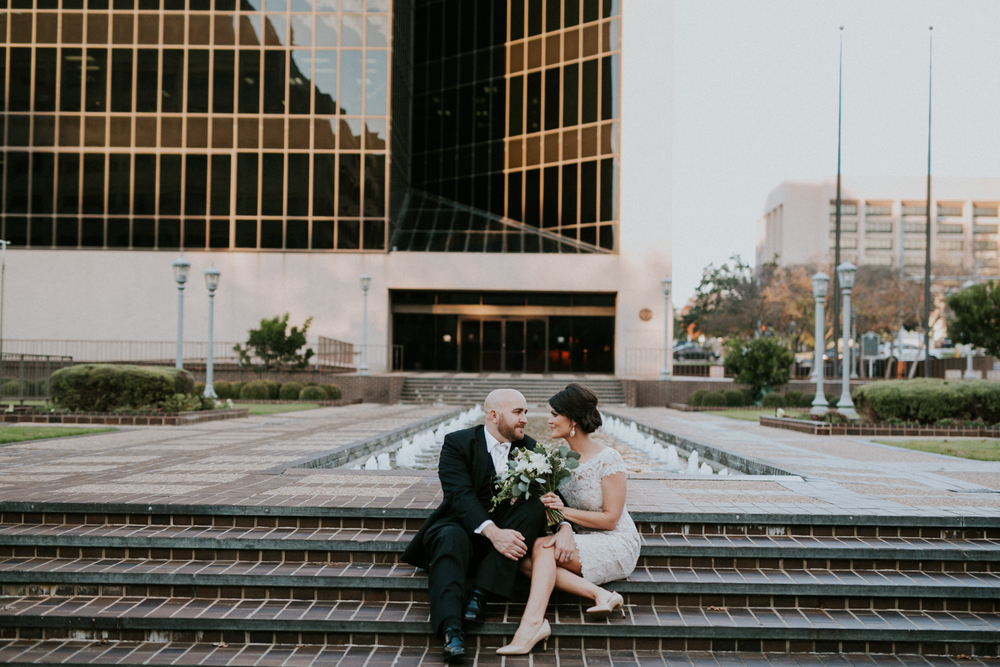 bride and groom downtown austin