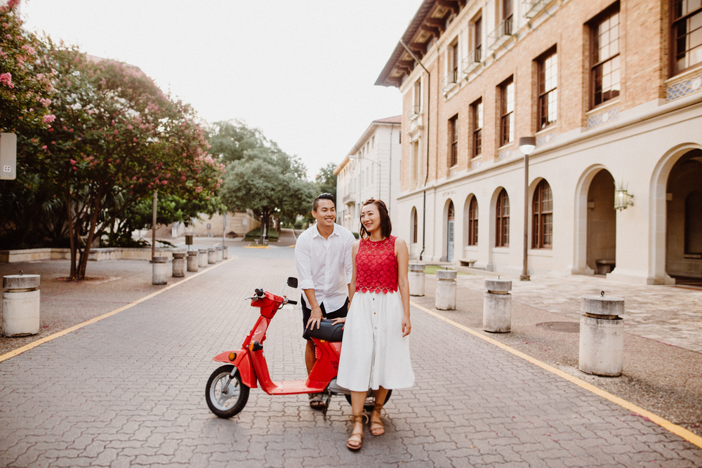 engagement session with vintage scooter