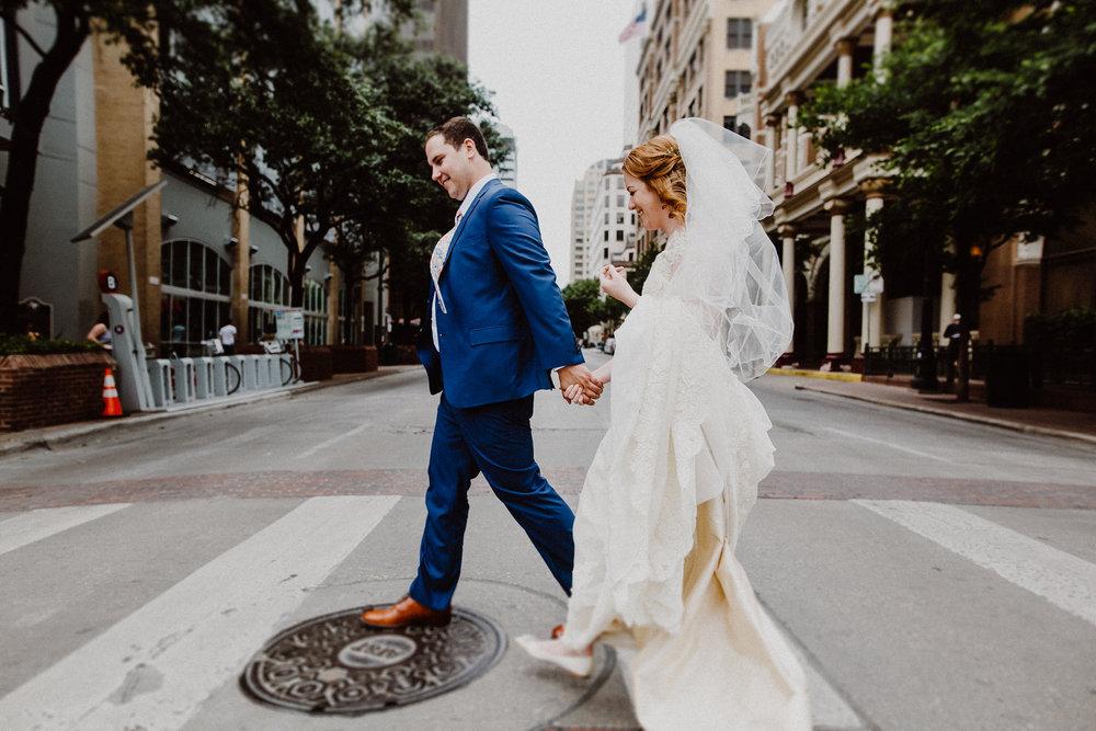 bride and groom at driskill hotel