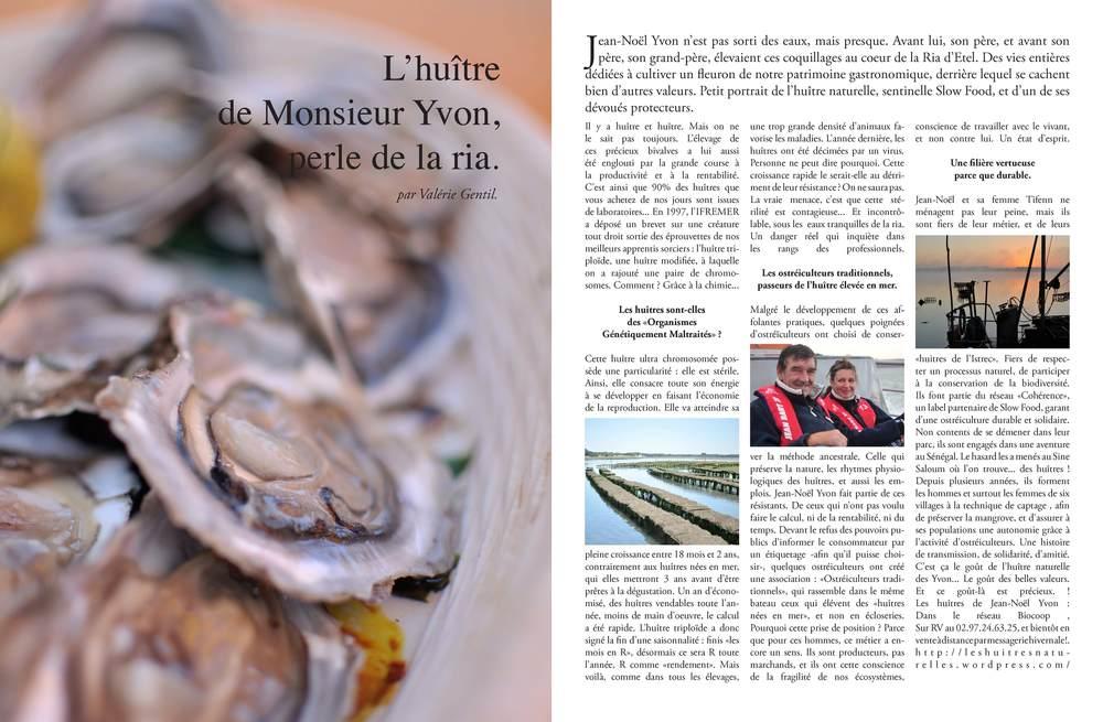 Les huîtres naturelles de Jean-Noël Yvon. Cliquez ici pour accéder au document.