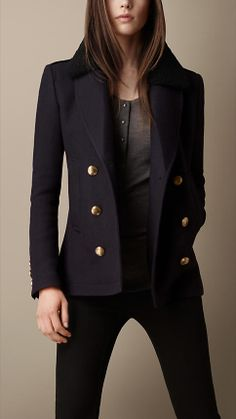 or a Burberry Brit wool navy jacket.